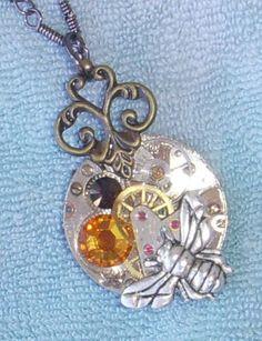 Vtg Fleur de Lis Steampunk Ruby Pure TierraCast Silver Bee Necklace Goth | eBay $9.99 http://cgi.ebay.co.uk/130837483190