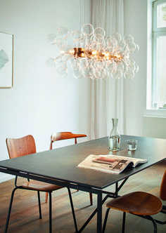 """""""Cloud"""" luminaire with handmade glass elements in browned brass frame / isabel hamm licht/ image by Sabrina Rothe Clouds, Dining Table, Brass Frame, Table, Glass, Interior, Bespoke Lighting, Handmade Glass, Home Decor"""