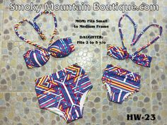 Matching Mom and Daughter High Waist Swimsuit (Multi Color Lines Design) HW23