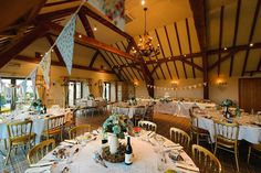 Bunting set up for a wedding breakfast in the Bredon room
