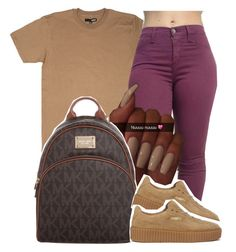 """Makeup on fleek, her hair on fleek, eyebrows on fleek, her nails on fleek yeah shawty on fleeek"" by jordanlife24 ❤ liked on Polyvore featuring MICHAEL Michael Kors and Puma"