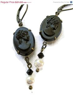 Hey, I found this really awesome Etsy listing at http://www.etsy.com/listing/153425005/halloween-sale-cameo-earrings-romantic