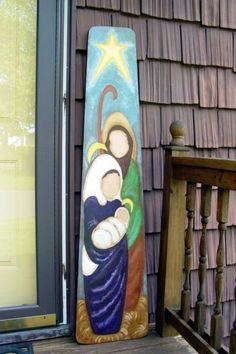 Hand Painted Vintage Ironing Board, Holy Family / Nativity