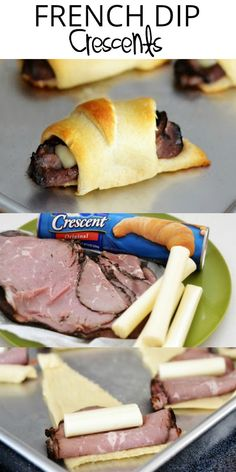 French Dip Crescents are savory little beef sandwiches with melty cheese all wrapped up in crescent dough. Dip them in au jus sauce for an incredible lunch or dinner! - Snacks - Ideas of Snacks Gourmet Recipes, Appetizer Recipes, Beef Recipes, Cooking Recipes, Thai Recipes, Party Appetizers, Noodle Recipes, Sandwich Recipes, Dinner Recipes