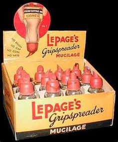 Lepage's glue - I remember working to crack the dried glue off the tip to use it again and again