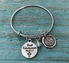 First Communion Gift, First Communion, Silver Bracelet, Charm Bracelet, Bangle Bracelet, Charm Bangle, Keepsake, Silver Jewelry, Gifts by SAjolie on Etsy https://www.etsy.com/listing/529337233/first-communion-gift-first-communion