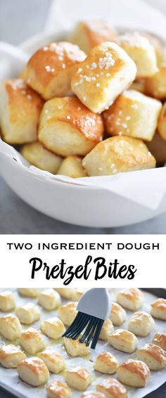 Two Ingredient Dough Pretzel Bites are SUPER EASY to make with no yeast and no waiting for the dough to rise. Just mix the dough, cut nuggets, dip in baking soda water and bake! snacks for a party Two Ingredient Dough Pretzel Bites - The Gunny Sack Yummy Snacks, Yummy Food, Savory Snacks, Healthy Tasty Snacks, Baking Soda Water, Appetizer Recipes, Party Appetizers, Easy Party Snacks, Party Desserts