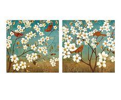 Set de 2 lienzos Flores - 80x80 cm