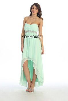 New Strapless Mint Green Hi-Lo Beads Empire Dress MEDIUM Wedding Chiffon  Dresses 0ad6859ec