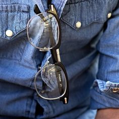 mens glasses and chambray