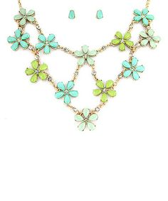 Look what I found on #zulily! Gold & Green Floral Bib Necklace & Stud Earrings by MOA International Corp #zulilyfinds