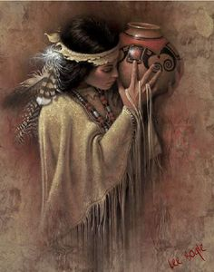 "Lee Bogle Handsigned and Numbered Limited Edition Giclee on Canvas: ""The Vessel"" Artist: Lee Bogle Title: The Vessel Edition Size: Artist Handsigned and Numbered (S/N) to 250 Medium: Canvas Giclee - unstretched Image Size: 2 Native American Paintings, Native American Pictures, Native American Beauty, American Indian Art, Indian Paintings, Native American Indians, Native Indian, Native Art, Foto Art"