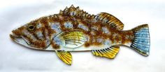 FUSED GLASS FISH. Calico Kelp Bass Glass by TightLineGlass on Etsy