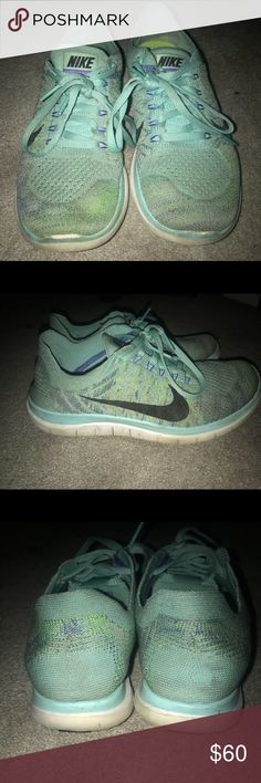 Nike free runs 4.0. Teal! Used a few times 4.0 Nike free runs. A very pretty blue. Good for the gym or for running. Nike Shoes Athletic Shoes