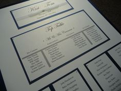 "Navy & Ivory classic table plan.  This plan has been tailored to suit a long ""U-shape"" table formation for your Wedding Breakfast."