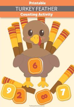 With this printable Turkey Feather Counting Activity, your little ones will have tons of fun mastering their counting skills! Thanksgiving Activities For Kids, Fall Preschool, Autumn Activities, Thanksgiving Crafts, Preschool Activities, Children Activities, Educational Activities, Printable Turkey, Counting Activities