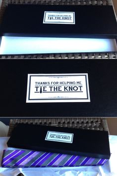 say thanks to the boys with these super cute tie gift boxes #groomsmen #bridalparty #thankyou #gift http://www.etsy.com/shop/CUTEnCRAFTYshop