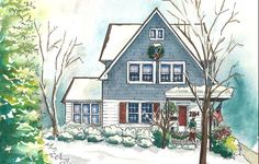 Watercolor house portraits - custom painting of your home - artwork from photo - painted house sketch