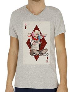 Suicide Squad Harley Quinn Playing Card Fan Art Men's V-Neck XX-Large #camiseta #friki #moda #regalo