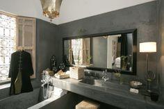 "contemporary moroccan bathroom in lime plaster, gray ""tadelakt"""