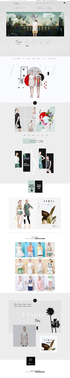 Camel website - neutrals with bold pops of color Website Design Inspiration, Fashion Website Design, Website Design Layout, Web Layout, Layout Design, Ux Design, Editorial Design, Beauty Editorial, Website Templates