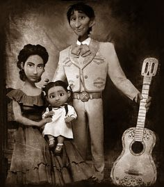 The Rivera Family Portrait of Hector, Imelda and their daughter, Coco from Coco - I just saw this movie yesterday, and I LOVED it ❤️ Disney Kunst, Arte Disney, Disney Magic, Disney Art, Disney Dream, Disney Love, Disney Pixar Movies, Disney And Dreamworks, Disney Characters