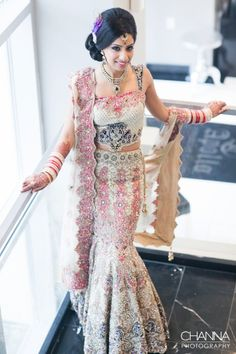 white lengha with pink and navy detail | image courtesy by Channa Photography | For more inspiration visit www.shaadibelles.com