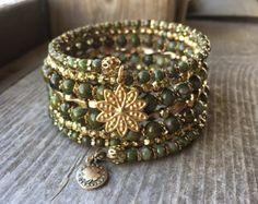 Piedra preciosa jaspe cobre cuentas Multi Strand bobina de alambre memoria pulsera bronce y oro