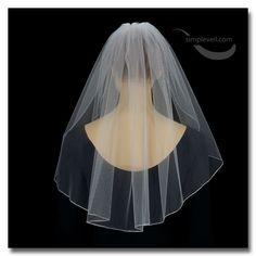 One Layer Pencil Edge Shoulder Length Bridal Veil