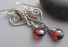 Wire Earrings/ Garnet Earrings/ Wire Earrings with Garnet by mese9