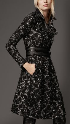 Burberry Long Printed Wool Trench