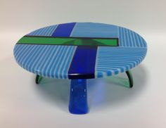 Cake Stand In Fused Glass, Blue, White, Green and Cobalt Blue by MeltandFlowGlass on Etsy