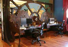 28 Crazy Steampunk Home Office Designs | DigsDigs - interesting desk inspiration