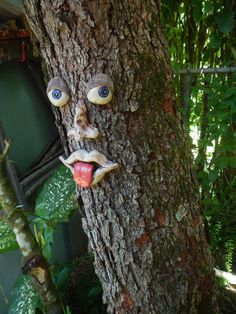 Naughty Tree Face-Garden Decor by Uturn on Etsy Cement Art, Cement Crafts, Tree People, Tree Faces, Unique Trees, Garden Deco, Fairy Garden Houses, Tree Stump, Gardens