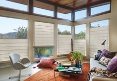 For a warm, natural look our Hunter Douglas Woven Wood Shades collection of window treatments transforms sunlight into captivating design statements. Choose yours today. Patio Blinds, Diy Blinds, Outdoor Blinds, Fabric Blinds, Shades Blinds, Wood Blinds, Curtains With Blinds, Blinds Ideas, Cabin Curtains
