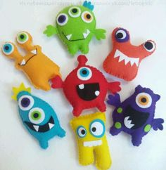 Photo Kids Crafts, Felt Crafts, Craft Projects, Sewing Projects, Monster Birthday Parties, Monster Party, Sewing Toys, Sewing Crafts, Stuffed Animal Patterns