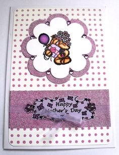Fizzy Moon Mother's Day card coloured with Spectrum Noir Pens with purple diamonte detail.