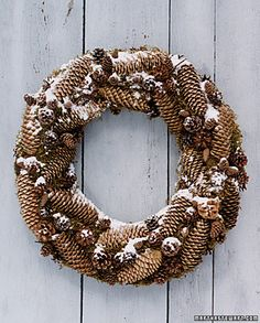 This substantial wreath, made with long Norway spruce pinecones attached to a bed of moss, can last for years if stored properly.