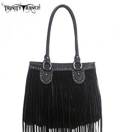 Montana West TR09-8562 Trinity Ranch Fringe Design Western Handbag Purse-Black