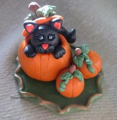 polymer clay ~ Black Cat In A Pumpkin Patch