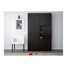 BESTÅ Storage combination with doors - Lappviken black-brown - IKEA
