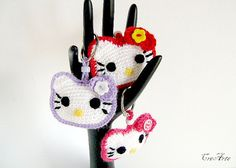 Keychain Hello Kitty Crochet Red Fuchsia Purple  by CreArtebyPatty