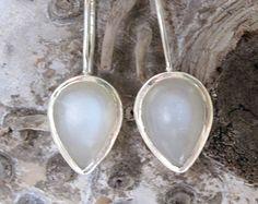 White Grey Moonstone Earrings Bezel set in Nickel by Graceanchor