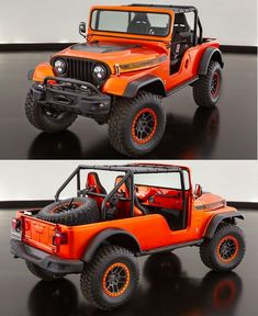 Jeep just dropped a 1966 Jeep CJ body onto a second-gen Wrangler frame, bolted on some modern Wrangler bumpers and threw in some Dodge Viper seats. Jeep Cj6, Jeep Truck, Chevy Trucks, Jeep Willys, Orange Jeep, 1997 Jeep Wrangler, Jeep Stickers, Jeep Brand, Jeep Wagoneer