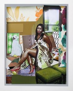 New York-based artist Mickalene Thomas is best known for her elaborate paintings composed of rhinestones, acrylic and enamel Kids Art Projects, Harlem Renaissance Artists, Lovers Art, Public Art, Figure Painting, Global Art, Collage Art Projects, Artsy, American Artists
