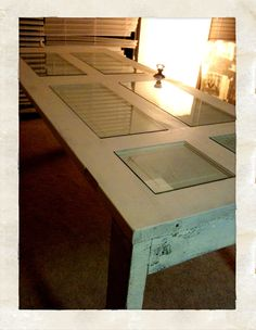 Thinking about using some louvered doors and cutting out the slats. Instant tabletop, well after I fill in the holes. Diy Furniture Projects, Diy Wood Projects, Repurposed Furniture, Diy Outdoor Table, Custom Glass, Old Doors, Diy Door, A Table, Home Improvement