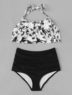 White Floral Flounce Halter Top Swimsuit Black Bikini Bottom Features Type: Sets Style: Cute Waist Size (cm): S: cm, M: cm, L:… Bathing Suits For Teens, Summer Bathing Suits, Swimsuits For Teens, Cute Bathing Suits, Bathing Suit Top, Halter Top Swimsuits, Cute Swimsuits, Bandeau Tops, Swimwear