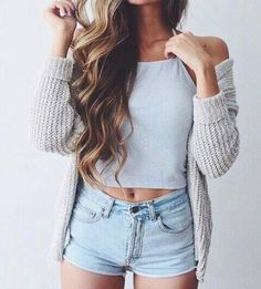 knit cardigan + halter top + denim shorts #brandymelvile