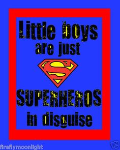 """Little Boys Superhero"" Quote Boy Room Wall Art Decor 