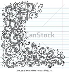 Music Doodle Vector Page Border - csp11502374